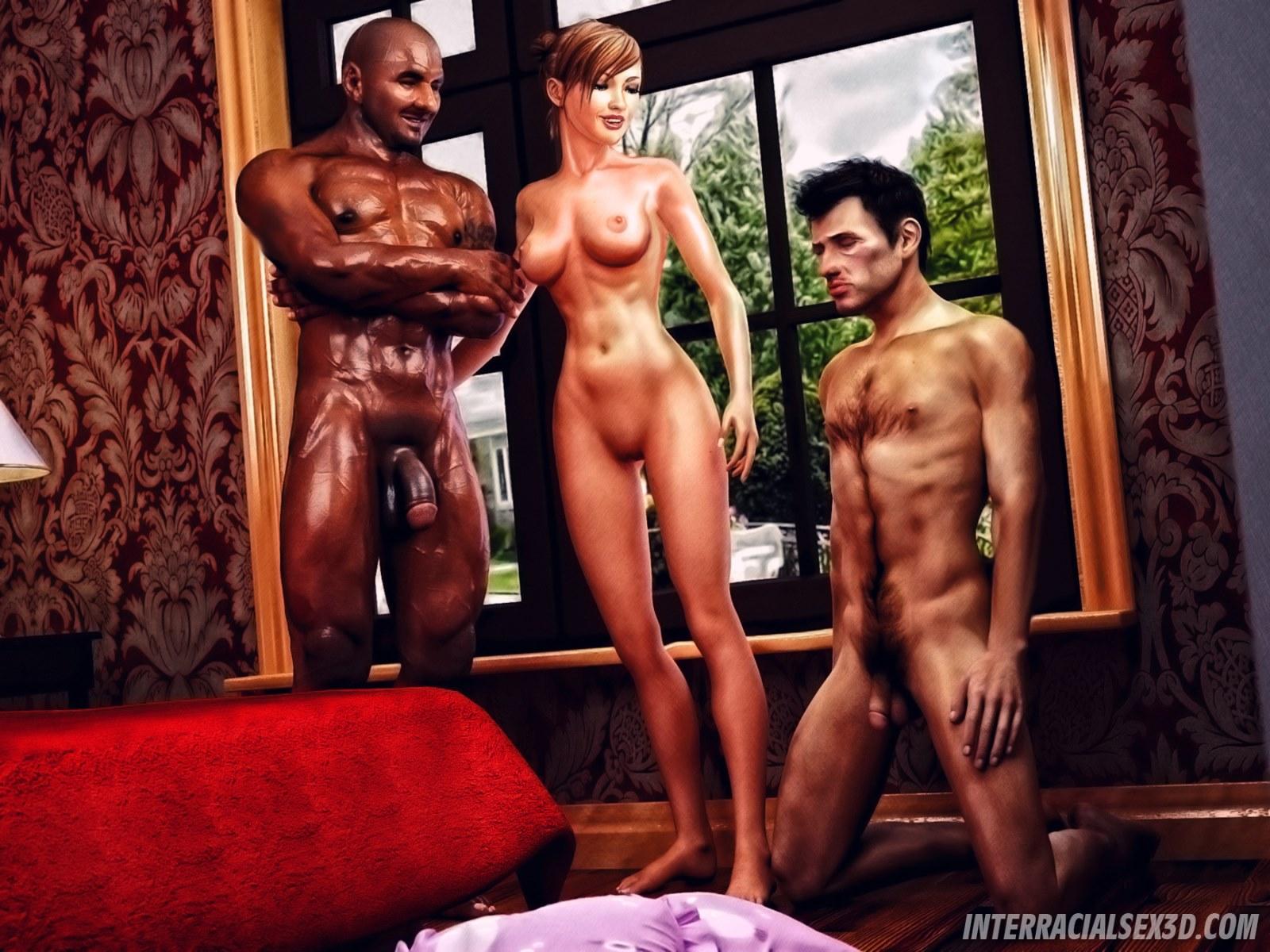 Cuckold Husband Initiation- Interracialsex3d image 1