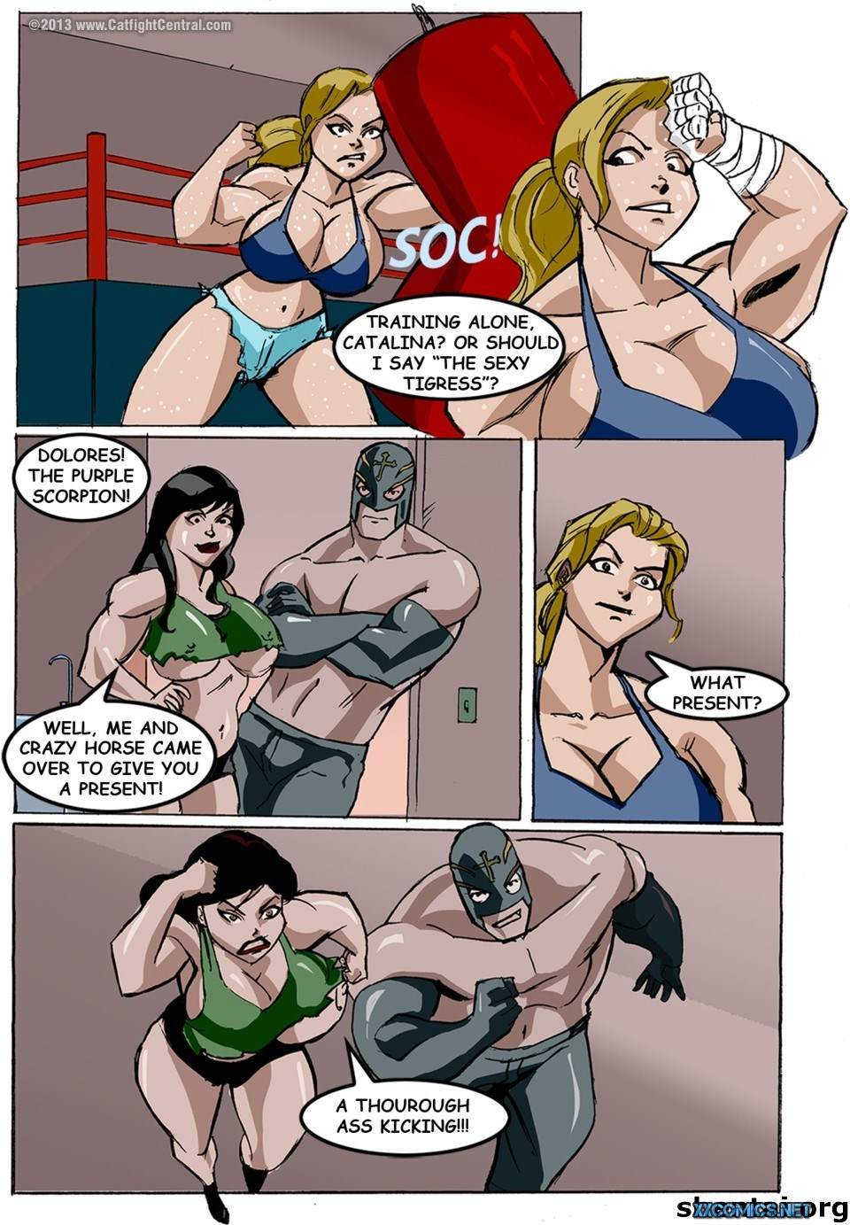 Porn Comics - Lucha Libre XXX Part 4 & 7- Catfight porn comics 8 muses