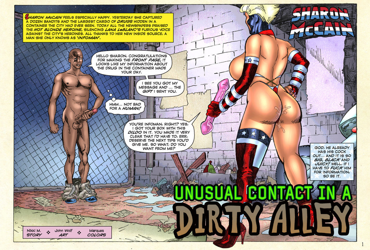 Porn Comics - Unusual contact in a Dirty Alley- Superheroine porn comics 8 muses