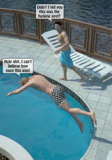 Two boys fucks a woman at Pool image 02
