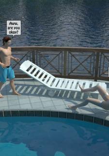 Two boys fucks a woman at Pool image 10