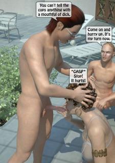 Two boys fucks a woman at Pool image 19