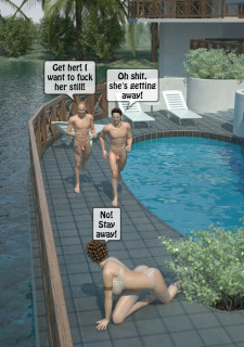 Two boys fucks a woman at Pool image 21