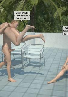 Two boys fucks a woman at Pool image 26