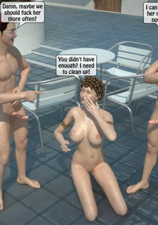Two boys fucks a woman at Pool image 39