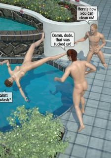 Two boys fucks a woman at Pool image 40