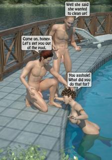 Two boys fucks a woman at Pool image 41