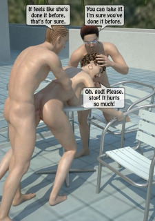 Two boys fucks a woman at Pool image 45