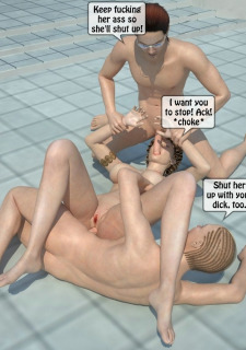 Two boys fucks a woman at Pool image 47