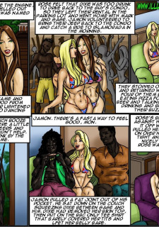Flag Girls- Illustrated interracial image 127